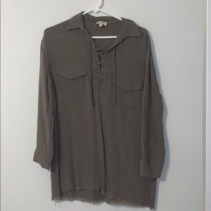 Army green collared tie down shirt
